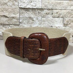 Vintage Elastic Stretch Brown Leather Belt